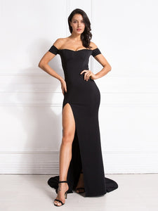 2019 Sexy Off the Shoulder Slash Neck Mermaid Maxi Dress Bodycon Split Red Backless Long Dress Black Floor Length Club Dress - Y O L O Fashion Store