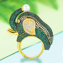 Load image into Gallery viewer, GODKI 2019 Trendy Big Elephant Charms Cubic Zircon Statement Ring for Women Finger Rings Beads Charm Ring Bohemian Beach Jewelry - Y O L O Fashion Store
