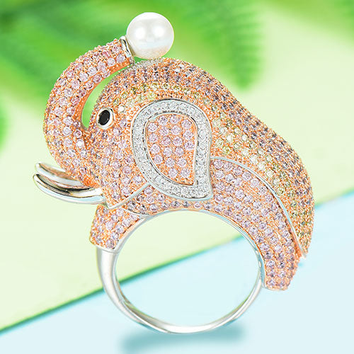 GODKI 2019 Trendy Big Elephant Charms Cubic Zircon Statement Ring for Women Finger Rings Beads Charm Ring Bohemian Beach Jewelry - Y O L O Fashion Store