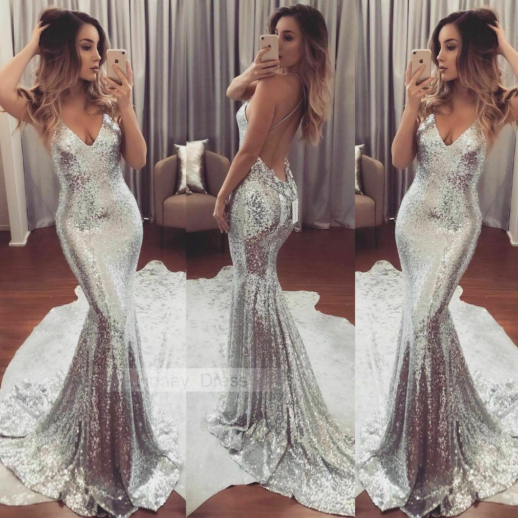 Sexy Women Dress Long Formal Silver Sequin Sequined Dress Strapless Evening Party Tight Dress - Y O L O Fashion Store