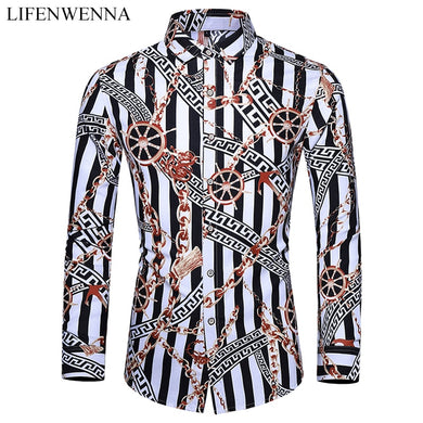 Casuals Shirt Men Autumn New Arrival Personality Printing Long Sleeve Shirts Mens Fashion Big Size Business Office Shirt 6XL 7XL - Y O L O Fashion Store