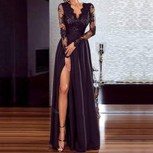 Load image into Gallery viewer, Women Sexy black lace dress Elegant Wedding Party Dresses V Neck Long Sleeve Split Long Evening Party perspective Ladies Dress - Y O L O Fashion Store