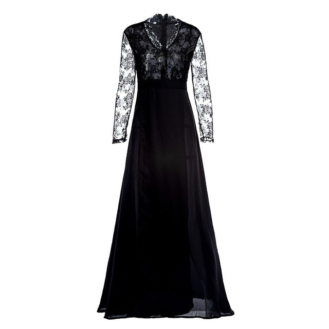 Women Sexy black lace dress Elegant Wedding Party Dresses V Neck Long Sleeve Split Long Evening Party perspective Ladies Dress - Y O L O Fashion Store