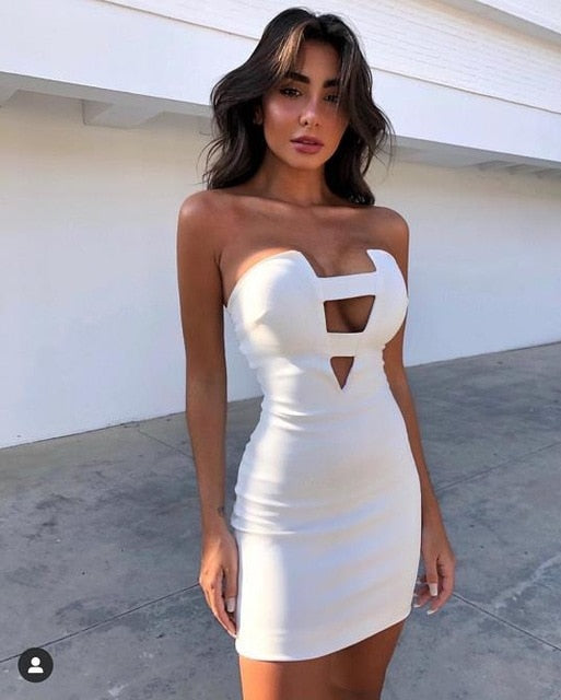 Free Shipping Solid Nude Sexy Key Hole White Bandage Dress 2019 Designer Fashion Party Dress Vestido - Y O L O Fashion Store