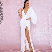 Load image into Gallery viewer, LOVE&LEMONADE Sexy Rose Gold V-Neck Single Sleeve Sequins Split Party Maxi Dress LM81848 Autumn/Winter - Y O L O Fashion Store