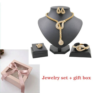Personalized Creative Design 18 Gold Jewelry Sets Crystal Necklace Ring for Women Earrings Fine Handmade Jewelry