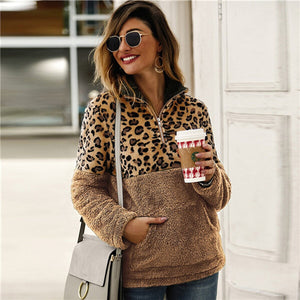 SHEIN Flannel Contrast Leopard Quarter Zipper Teddy Sweatshirt Pullover Women Autumn Winter Stand Collar Casual Sweatshirts - Y O L O Fashion Store