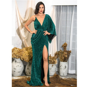 LOVE&LEMONADE Sexy Rose Gold V-Neck Single Sleeve Sequins Split Party Maxi Dress LM81848 Autumn/Winter - Y O L O Fashion Store