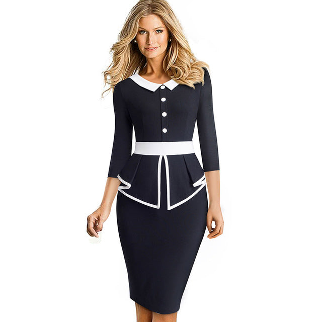Nice-forever Elegant Contrast Color Patchwork Office with Botton Ruffle vestidos Business Formal Winter Bodycon Women Dress B558