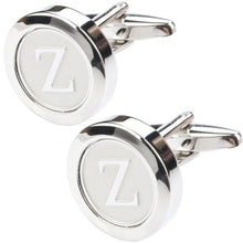 Load image into Gallery viewer, Mens Classic silver Initial Cufflinks Alphabet Letter Cufflinks Formal Business Wedding Shirts A-Z