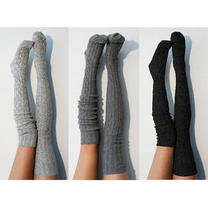 Women Over Knee Socks Fashion Female Sexy Stockings Warm Long Boot Knit Thigh-High Gray Khaki Blue Black - Y O L O Fashion Store