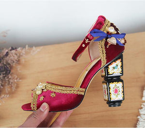 Genuine Leather Elegant Velvet Buckle Strap Women Summer Sandals Open Toe Floral Embellished Chunky High Heels Wedding Shoes - Y O L O Fashion Store