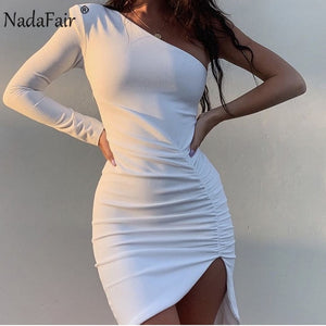 Nadafair One Shoulder Clubwear Party Sexy Bodycon Dress Women Draped Long Sleeve Mini Black White Pink Autumn Winter Dress