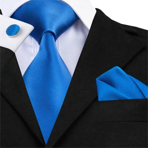 Hi-Tie Men's Milk White Tie Silk Ties Set Jacquard Woven Necktie Handkerchiefs Cufflinks Set Ties For Men Wedding Corbatas C-341