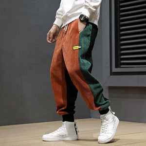 Autumn Winter Fashion Men Jeans Loose Fit Spliced Designer Corduroy Cargo Pants Men Harem Trousers Casual Hip Hop Joggers Pants