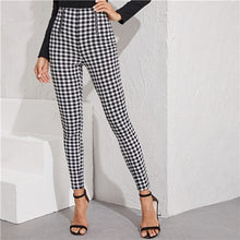Load image into Gallery viewer, SHEIN Black And White Zipper Front Gingham Print Skinny Preppy Pants Women Autumn Streetwear Ladies Basic Long Stretchy Trousers - Y O L O Fashion Store