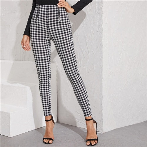 SHEIN Black And White Zipper Front Gingham Print Skinny Preppy Pants Women Autumn Streetwear Ladies Basic Long Stretchy Trousers - Y O L O Fashion Store