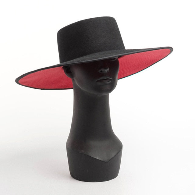 Classical UNISEX WIDE BRIM SPLICE TWO TONE WOOL FEDORA Winter Warm Wide Brim Women Hats Red Black Ladies Church Derby Dress Hat - Y O L O Fashion Store