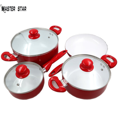 Master Star White Ceramic Coating Red Cookware Set Saucepan &Frying Pan & Milk Pot & Glass Cover Total 7PCS Non-stick  Fire Use