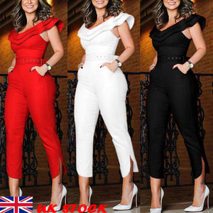 New Womens Bardot Off Shoulder Jumpsuit Rompers Cocktail Party Evening Playsuit