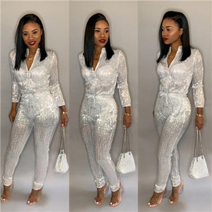 Adogirl S-3XL Gilding Women Jumpsuit Christmas Zipper Turtleneck Long Sleeve Fashion Casual Romper Club Party Overalls Jumper - Y O L O Fashion Store