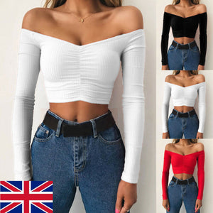 2019 Sexy Off Shoulder Women T-Shirt Summer Autumn Casual Long Sleeve Pullover Tops Slim bodycon Fashion basic Shirt Crop Tops - Y O L O Fashion Store