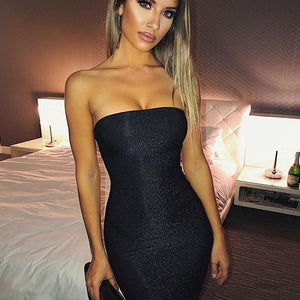Ceremokiss Sparkle Glitter Dress Women Sexy Off Shoulder Party Nightclub Bodycon Dresses Autumn Strapless Backless Mini Vestidos - Y O L O Fashion Store