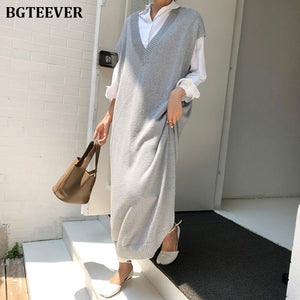 BGTEEVER Chic Casual Winter Oversize Straight Sleeveless Sweater Dress Women Thick Knit Long Dress Female Knitted Vest Dress - Y O L O Fashion Store
