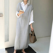 Load image into Gallery viewer, BGTEEVER Chic Casual Winter Oversize Straight Sleeveless Sweater Dress Women Thick Knit Long Dress Female Knitted Vest Dress - Y O L O Fashion Store