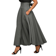 Load image into Gallery viewer, 2019 Summer Trend Skirts With Pocket High Quality Solid Ankle-Length Vintage Skirt For Women Black Gray Wine Red Long Skirt
