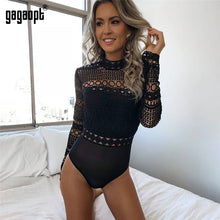 Load image into Gallery viewer, Gagaopt 2019 Autumn Lace Bodysuit Women Black Long Sleeve Sexy Bodysuit Ladies Hollow Out Bodycon Bodysuit Jumpsuit Overalls