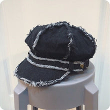 Load image into Gallery viewer, Spring and Autumn Fringed Retro Denim Octagonal Hat with Band Vintage Distressed Peaked Newsboy Cap for Women Tassel Baker Boy - Y O L O Fashion Store