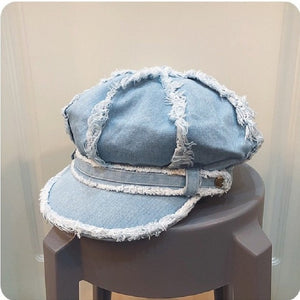 Spring and Autumn Fringed Retro Denim Octagonal Hat with Band Vintage Distressed Peaked Newsboy Cap for Women Tassel Baker Boy - Y O L O Fashion Store