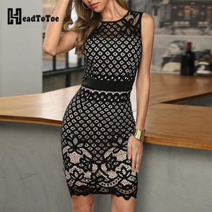 Black Hollow Out Lace Stitching Party Dress