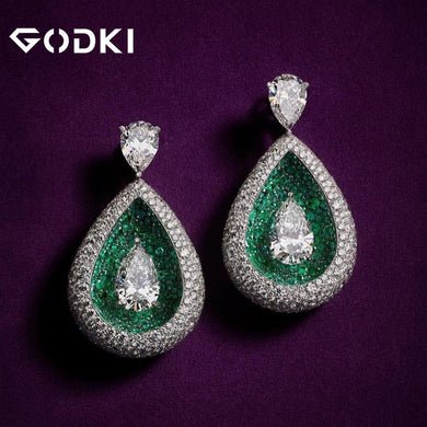 GODKI 2020 Red Carpet Famous Brand Waterdrop Earrings For Women BOHO Crystal CZ Drop Earrings Brincos Fashion Tortoise Jewelry