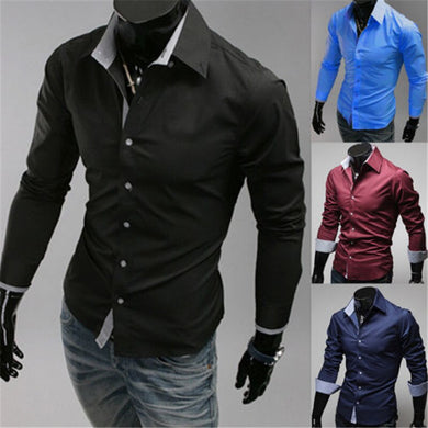 New Fashion Men's Luxury Stylish Casual Dress Shirts Long Sleeve Slim Fit Shirt Men Slim Casual Shirt