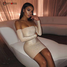 Load image into Gallery viewer, Ceremokiss Sparkle Glitter Dress Women Sexy Off Shoulder Party Nightclub Bodycon Dresses Autumn Strapless Backless Mini Vestidos - Y O L O Fashion Store