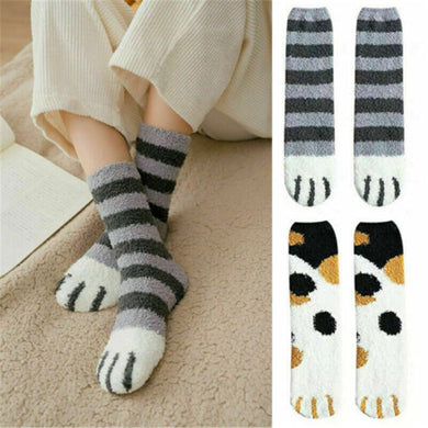 1 pair of plush coral fleece socks female tube socks autumn and winter cat claws cute thick warm sleeping floor sleep socks lady - Y O L O Fashion Store