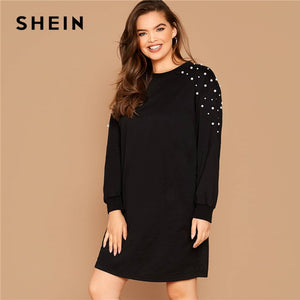 SHEIN Plus Size Black Pearl Beaded Sweatshirt Casual Dress Women Spring Autumn Round Neck Plus Solid Loose Short Dresses - Y O L O Fashion Store