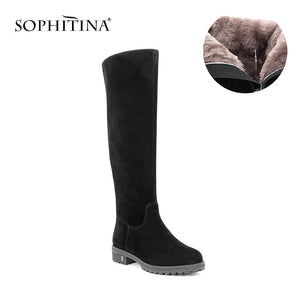 SOPHITINA Black Kid Suede Woman Knee-high Boots Round Toe Warm Plush Wool Fur Winter Boots Solid Handmade Leather Shoes B32