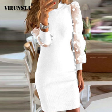 Sexy Puff Long Sleeve Mesh Knitted Dress Women Autumn O Neck Patchwork Lace Party Dress Polka Dot Print Ladies Dresses Vestidos