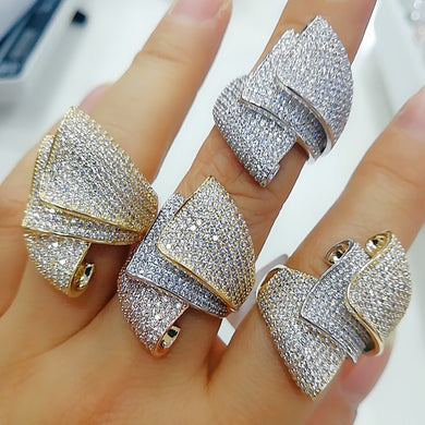 GODKI Luxury Sydney Opera Design Bold Statement Rings with Zirconia Stones 2020 Women Engagement Party Jewelry High Quality
