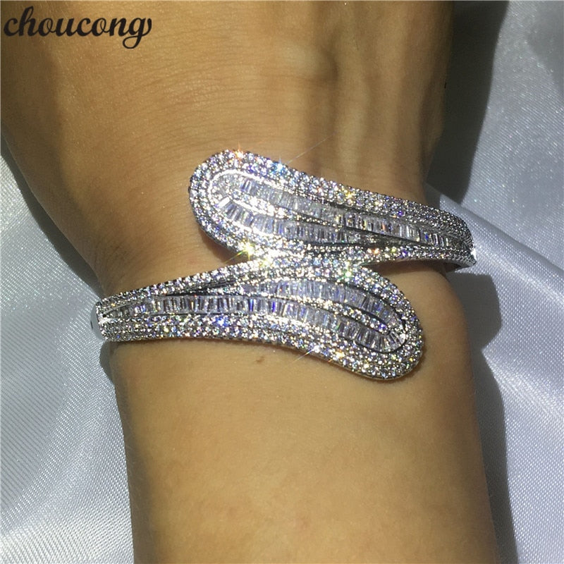 Luxury jewelry 5A cubic zirconia T shape stone Baguette bracelet shinning bangle White Gold Filled women  accessories