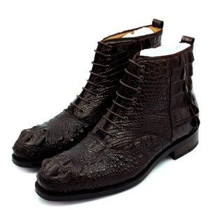 Sipriks Luxury Imported Crocodile Skin Oxfords Boots Men Sewing Welted Ankle Boots Dark Brown Mens Cowboy Boots Big Size 10 11