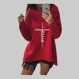 2019 New Fashion Faith Print Kawaii Tops Sweatshirt Femmes Hoodies Women Clothings Print Youth Pattern Buckle Autumn - Y O L O Fashion Store