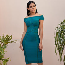 Load image into Gallery viewer, Adyce New Summer Green Off Shoulder Bodycon  Dress Sexy Short Sleeve Celebrity Evening Party Dresses Vestidos
