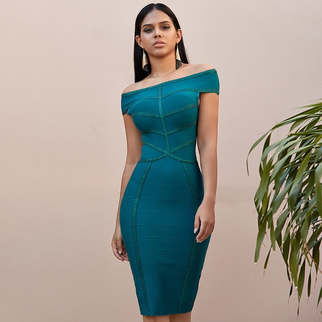 Adyce New Summer Green Off Shoulder Bodycon  Dress Sexy Short Sleeve Celebrity Evening Party Dresses Vestidos