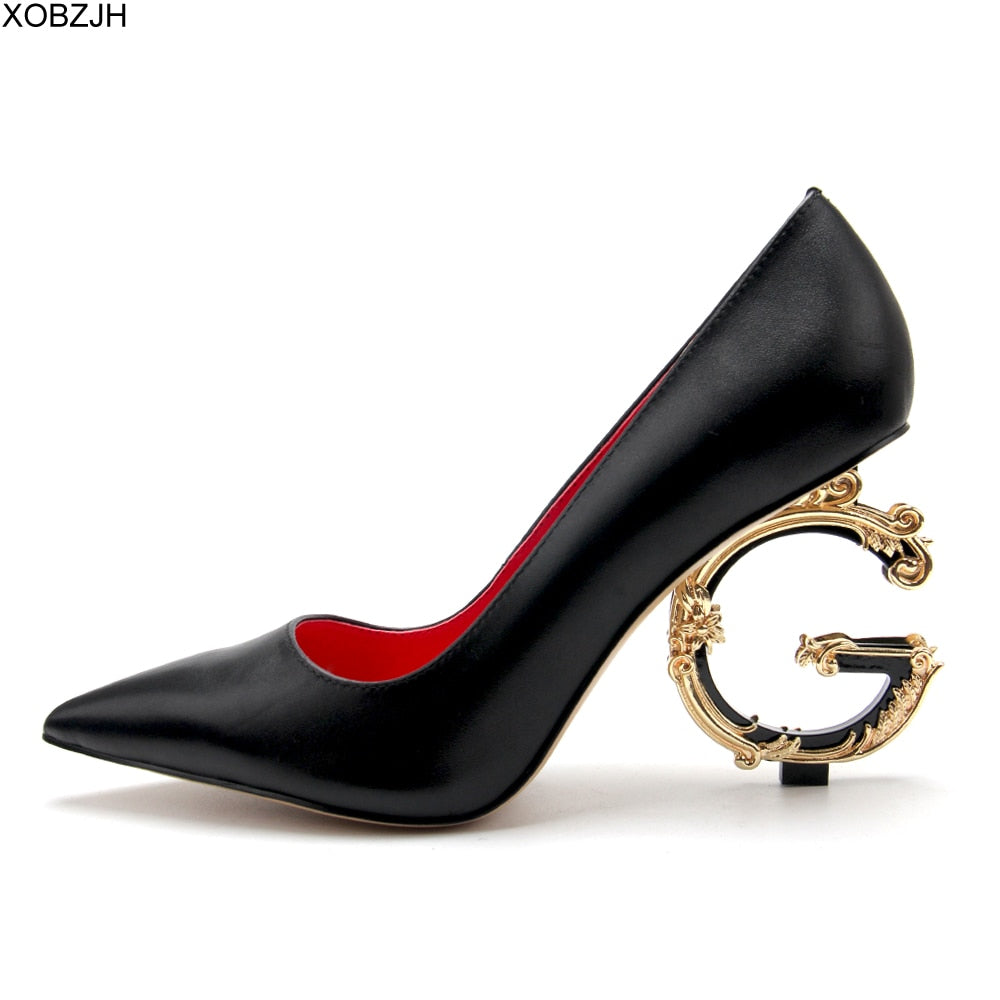 Office Dress G Shoes Luxury Women Sexy High Heels Pumps 2019 Designer Black Red White Gold Heels For Ladies Wedding  Bride Shoes