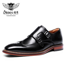 Load image into Gallery viewer, DESAI Monk Strap Slip on Genuine Leather Shoe Business Handmade Dress Brogue Shoes for Men with Buckle 2019