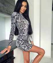 Load image into Gallery viewer, Sexy Women Leopard Print Long Sleeve Bodycon Dress Ladies Sexy Clubwear Party Bodycon Short Mini Dresses Turtleneck Women Dress - Y O L O Fashion Store